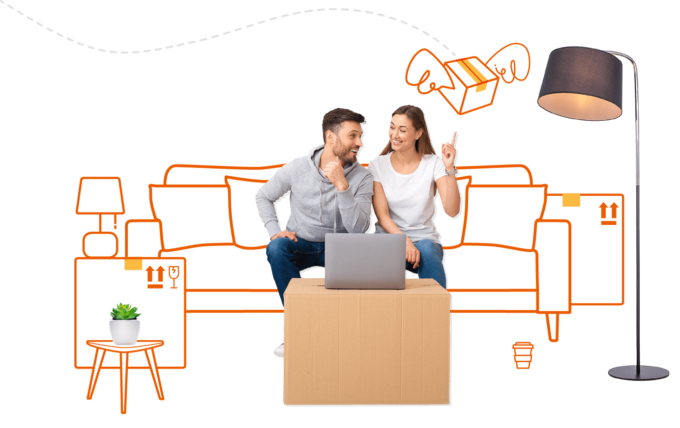 Young couple sitting on a couch booking a removal company on laptop