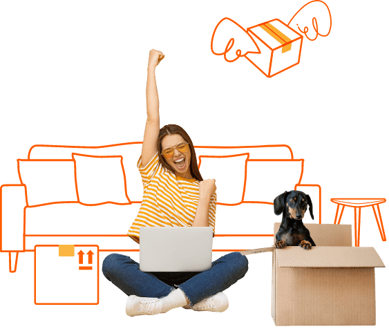 Girl sitting on floor with laptop celebrating booking a removalist